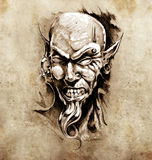 piercingen för konstjäkelhuvud skissar tatueringen Arkivbild