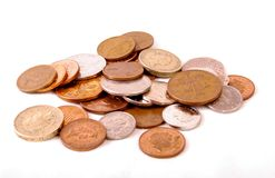 Pierda el dinero y las monedas del cambio Fotos de archivo