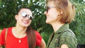 pierda encima del retrato de un par de novias en gafas de sol Caminata en el parque Amistad, relaciones Vacaciones de verano almacen de video