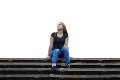 Pierden a la mujer joven en pensamiento Foto de archivo libre de regalías