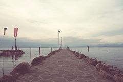 Free Pierf On Lake Garda,Cisano,Italy Royalty Free Stock Photography - 107293907