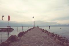 Pierf On Lake Garda,Cisano,Italy Royalty Free Stock Photography