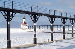 pierhead Мичигана маяка города восточное Стоковые Изображения RF