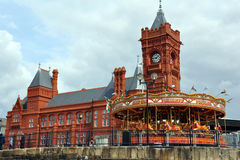 Pierhead Building at Cardiff Bay. Famous red brick building in Cardiff dock (former offices of the Bute Dock Company, nowaday part of Welsh Assembly stock photography