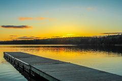 Piering ready for the sun to set. Clear Lake, Riding Mountain, National Park, Manitoba, Canada Stock Photos