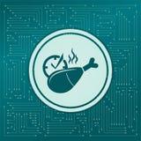 Pierna de pollo o icono del palillo en un fondo verde, con las flechas en diversas direcciones Aparece el tablero electrónico stock de ilustración