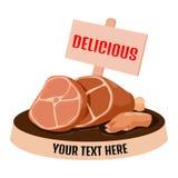 Pierna del cerdo con la etiqueta ilustración del vector