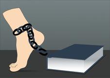 Pierna en cadena y libro - ejemplo que muestra carga Foto de archivo libre de regalías