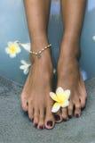 Piernas con la cadena de la flor y de la perla Imágenes de archivo libres de regalías