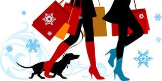 Piernas de las compras de la Navidad Fotos de archivo
