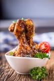 Piernas de pollo de la parrilla Bbq asado a la parrilla de las piernas de pollo con perejil y el tomate del sésamo Fotografía de archivo libre de regalías