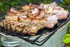 Piernas de pollo de las costillas de cerdo de las salchichas en la barbacoa de la parrilla Imagenes de archivo