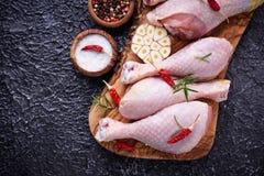 Piernas de pollo sin procesar con las especias y el ajo Fotografía de archivo libre de regalías