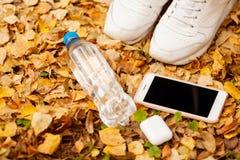 Piernas de una muchacha en las zapatillas de deporte blancas en follaje del otoño foto de archivo
