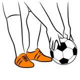 Piernas del esquema de un jugador de fútbol fotografía de archivo