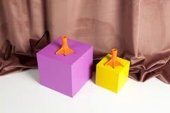 Piernas del pato y cubos coloreados Fotografía de archivo libre de regalías
