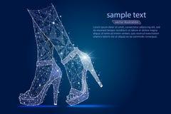 Piernas del ` s de las mujeres en los zapatos, tacones altos diseño abstracto, logotipo aislado de wireframe polivinílico bajo en ilustración del vector
