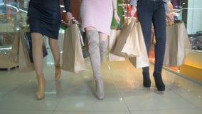 Piernas del shopaholics con los panieres que caminan en una alameda