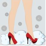 piernas en altos talones ilustración del vector