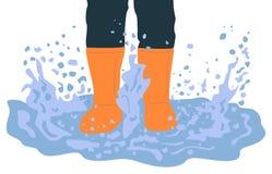 Piernas en las botas de goma que juegan en el ejemplo de la historieta del charco ilustración del vector