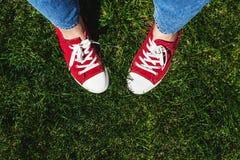 Piernas en zapatillas de deporte rojas viejas en hierba verde Visión desde arriba El co Foto de archivo