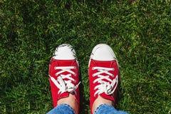 Piernas en zapatillas de deporte rojas viejas en hierba verde Visión desde arriba El co Fotos de archivo