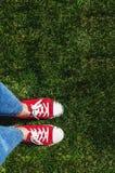 Piernas en zapatillas de deporte rojas viejas en hierba verde Visión desde arriba El co Fotos de archivo libres de regalías