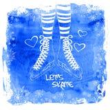 Piernas femeninas en patines en un fondo de la acuarela Imagen de archivo
