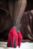 Piernas femeninas en zapatos rojos Imágenes de archivo libres de regalías