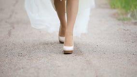 Piernas femeninas hermosas en caminar almacen de video