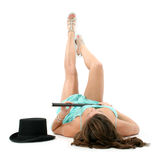 Piernas hermosas con el sombrero superior y el bastón Imagen de archivo libre de regalías