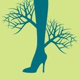 Piernas hermosas de las mujeres con concepto de la naturaleza ilustración del vector