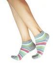 Piernas humanas en calcetería Foto de archivo