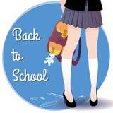 Piernas japonesas de la colegiala con el bolso y las letras de nuevo a escuela Imagen de archivo