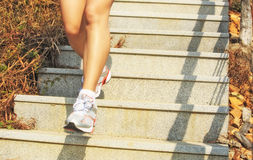 Piernas que corren para arriba en las escaleras de la montaña Imagen de archivo libre de regalías