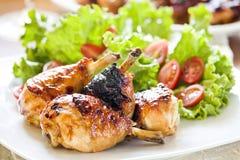 Piernas y ensalada de pollo Fotografía de archivo libre de regalías