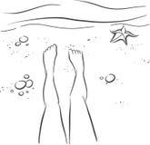 Piernas y playa ilustración del vector