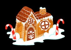 Piernikowego domu nowego roku akwareli tła ilustracja ilustracja wektor