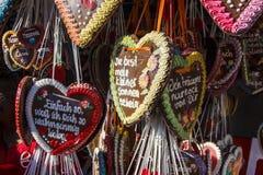 Piernikowi serca przy Theresienwiese w Monachium, Niemcy, 2015 Zdjęcie Royalty Free
