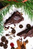 Piernikowy czekoladowy tort dla bożych narodzeń, dekoracji sosny gałąź, czerwony faborek nad ciemnym tłem zdjęcie stock