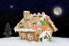 Piernikowy dom na czerni Obraz Stock