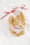 Piernikowy dziewczyny ciastka prezent w jasnej torbie obraz royalty free