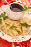 Pierogi  and barszcz  for christmas Royalty Free Stock Photo