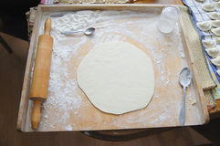 Pierogi Dough. Home Made Pierogi Dough with Flour Stock Photo