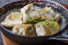 Pierogi (dumplings with sauerkraut and mushrooms) Stock Image