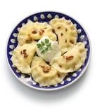 Pierogi klimpar, polsk mat arkivbild