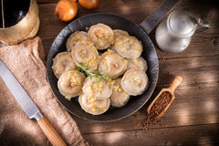 Pierogi with meat and buckwheat Stock Photography