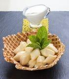 Pierogi perezoso del queso del desayuno Vareniks fotos de archivo libres de regalías