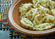 Pierogi ruskie. Dumplings which various topping.Popular in Galicia and Transcarpathia royalty free stock photography