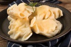 Pierogi tradicional apetitoso de las bolas de masa hervida de Europa del este con chee imagen de archivo libre de regalías